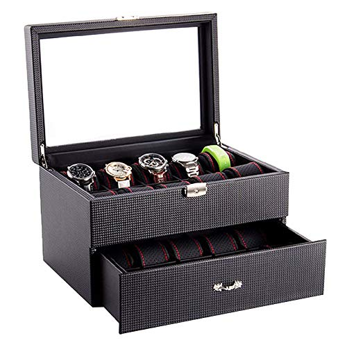 2 Layer Watch Box for Men, 20 Slot Luxury Carbon Fiber Design Display Case, Large Watch Holder with Drawer, Black