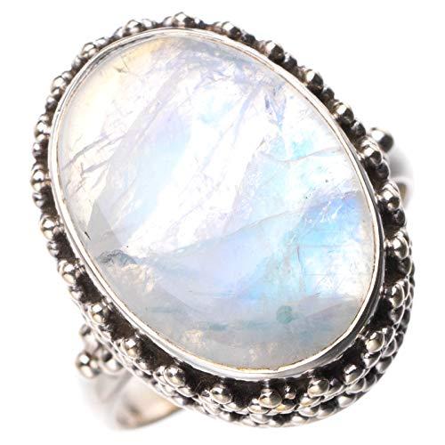 StarGems Anillo de plata de ley 925 hecho a mano con piedra lunar arco iris natural O 1/2 D8622