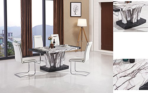 7Star Aberdeen Black & White Dining Table in Marble Effect, Tree Concept Dining Sets with 4 or 6 Chairs. (Table with 4 White Chairs)