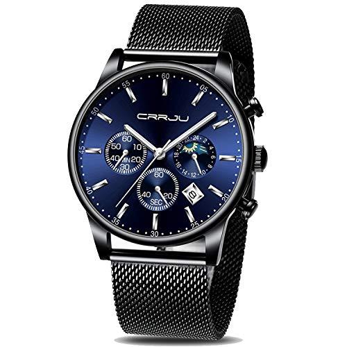 Relógio masculino CRRJU com cronógrafo de data automática, relógios esportivos masculinos, à prova d'água, 30 m, quartzo de aço completo com alça de malha, black blue silver