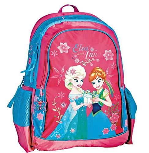 Disney Frozen - Die Eiskönigin ELSA Anna Olaf Rucksack Kinderrucksack (DRL) mit Hauptfach, Nebenfach und Frontfach, incl. Getränkenetz, 38 x 29 x 20 cm, blau/pink