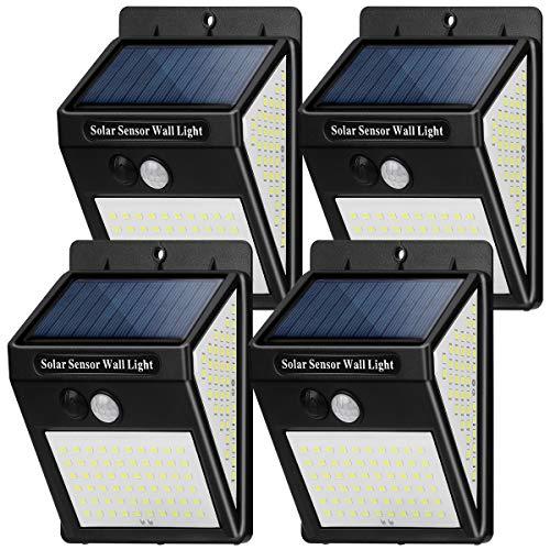 Luz Solar Exterior 144 LED【4 Pack / 3 Modos】con Sensor de Movimiento,...