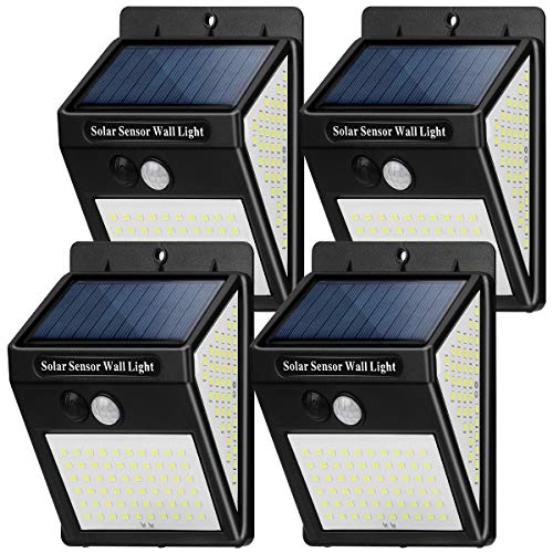 Luz Solar Exterior 144 LED【4 Pack / 3 Modos】con Sensor de Movimiento, Luces LED Solares Jardin 270º lluminación, 800LM, Focos LED Exterior Solar Impermeable Lámpara IP65 para Jardín
