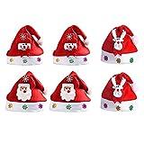 Hezhou 6 piezas Gorro Navideño Disfraces de Navidad Decoración Sombrero de Navidad Gorro Navideño para Adultos y Niños Gorro Navideño Unisex con ala de Felpa para Fiesta Navideña de Año Nuevo