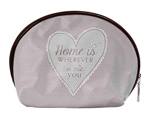 Clayre & Eef MLHFAP1 My Lovely Home Tasche Kosmetiktasche Schminktäschchen Schminktasche grau ca. 13 x 18 cm