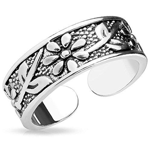 Bungsa Zehenring Blumen & Schwert Damen Silber Brass (Zehring Fussschmuck Fussring Toe-Ring Nail Ring Nagelring biegbar Verstellbar)