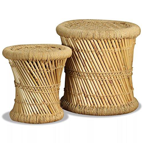 Festnight 2X Hocker Sitzhocker aus Bambus Jute