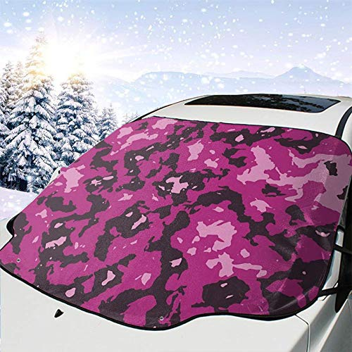 Yueye Car Front Windshield Cover Purple Pink Camouflage Camo Protector for Sun Snow Ice Frost Waterproof Fits for Most Cars