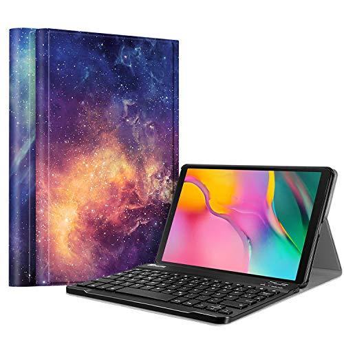 Fintie Tastatur Hülle für Samsung Galaxy Tab A 10.1 Zoll 2019 SM-T510/T515 Tablet-PC - Ultradünn leicht Schutzhülle mit magnetisch Abnehmbarer drahtloser Deutscher Bluetooth Tastatur, Die Galaxie