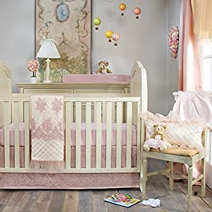 Crib Bedding Set Remember My Love by Glenna Jean   Baby Girl Nursery + Hand Crafted with Premium Quality Fabrics   Includes Quilt, Sheet & Bed Skirt with Pink & Ivory Accents