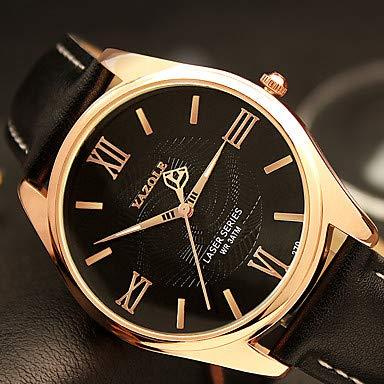 XKC-watches Herrenuhren, YAZOLE Herren Modeuhr Armbanduhr/Quartz PU Band Cool Bequem Schwarz Braun (Farbe : Schwarz, Großauswahl : Einheitsgröße)