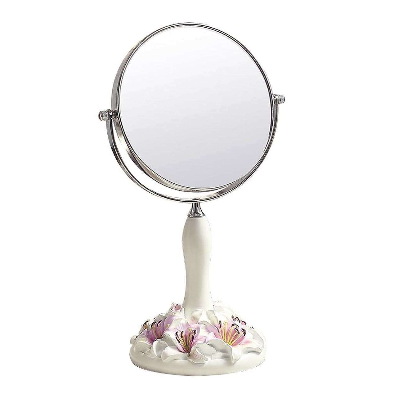 灰スポンジGSN 3倍の倍率円形両面コスメティックミラーコンチネンタルヴィンテージ屋内HDバニティミラー360°回転デスクトッププリンセスミラー(ピンク) 鏡 (Size : 34*16.5cm)