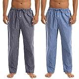 Irevial 2 Piezas Pantalones Largos de Pijamas de Algodón para Hombre, Cómodo Raya Pantalón por casa con cordón y Bolsillos,Suelto Pantalones de Dormir otoño Invierno