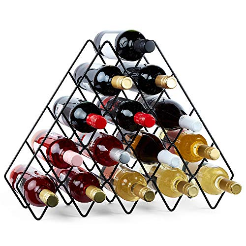 VonShef Wine Rack, Freestanding Bottle Holder, Shelves, Countertop Storage Metal Brushed Gold Geometric Design for Red White Wine Champagne Prosecco