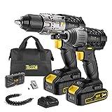 Drill and Impact Driver, TECCPO Cordless Drill Driver 18V, 2 Batterie 2.0Ah, 30min