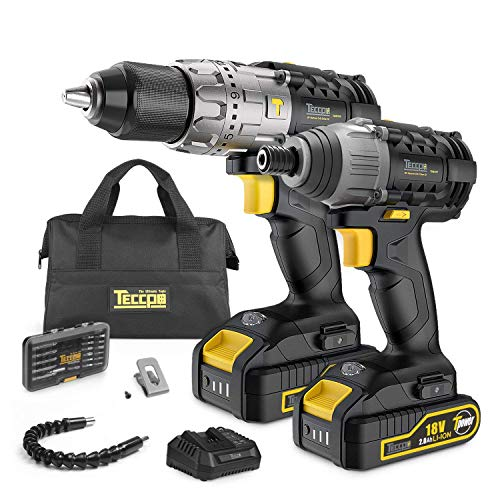 Cordless Drill 60Nm and Impact Driver 180Nm, 18V Twin Pack, 2X2.0Ah Batteries, 30Min Fast Charger, 60Nm Hammer Drill Driver with 35Pcs Accessories, LED Light, Belt Clip, Best Gift for DIY -TDCK01P