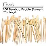 WoodU Bamboo Picks Paddle Skewers (Pack of 100), 7' Cocktail Picks, Eco-Friendly Biodegradable