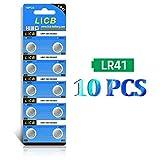 LiCB 10 pilas LR41 AG3 392 192 SR41SW de 1,5 V, pilas de botón para monedas, utilizadas en muchos pequeños dispositivos electrónicos, relojes, calculadoras, juguetes