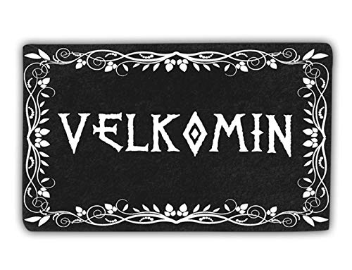 Velkomin Viking Age Old Norse Valhalla Unique Black Celtic Door Mat For Home Entrance With Heavy Duty Back, Welcome Mats Front Door, Outdoor Doormat, Indoor Floor Rug, Entryway Rugs For Shoe Scraper