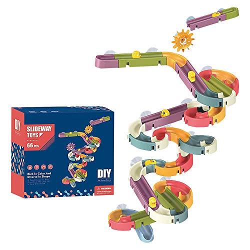 YUI Badespielzeug Baby Badewanne Spielzeug, 34/48/66 Stück Spaß DIY Puzzle Autorennbahn Rutsche Indoor Wasserfall Track Wand-Badewanne Spielzeug Badespaß Wasserspielzeug für Baby ab 3 Jahre (66PC)