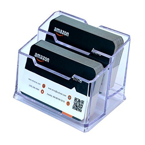 Padike Acrylic Business Card Holder Clear Business Card Stand,2 Tier Premium Acrylic Clear Business Card Holder Display.
