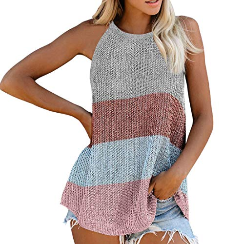 Women Tank Top Spaghetti Straps Sleeveless Tops Fashion Color Block Round Neck Knit Vest Loose Comfortable Breathable Summer Outdoor Tourism Beach Camping Camisole L