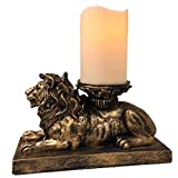 The Nifty Nook | Lion Figurine Candle Holder | Antique Gold | Flameless LED Pillar Candle & Timer | Home Decor | Beautiful Centerpiece | Perfect Mantle or Shelf Accent | Great Housewarming Gift