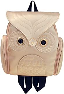 Cute Owl Fashion Backpacks Cartoon Women Backpack Soft Back School Bags Teenage Backpacks for Girls(Gold)