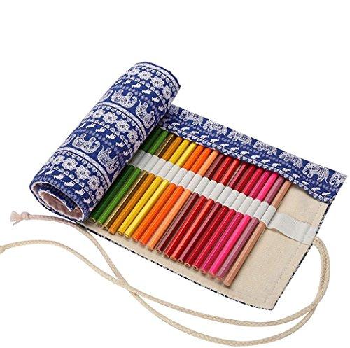 Abaría - Bolso de lapices Bolsa de Almacenamiento Hecho de Mano Estuche Enrollable lápices de Lona, Elefante Azul 72 Agujeros