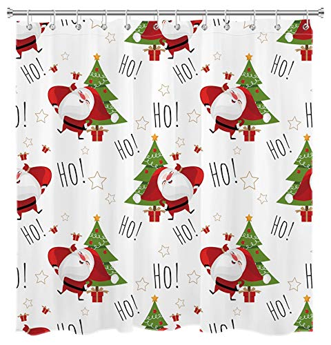 LB Christmas Shower Curtain Santa Claus Ho with Xmas Tree Shower Curtains Hooks White Background Funny Kids Bathroom Curtain Decor,70x70 Inch Waterproof Fabric