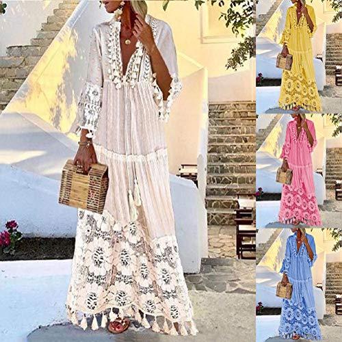 Onsoyours Vestido Largo para Mujer Vestido Encaje Floral Mangas 3/4 Vestido Playa Cuello En V Vestido Largo Fiesta Vintage Boho Vestido Z Azul 38