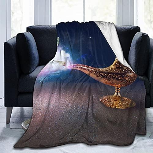 Banknotes exists Magic Aladdin Genie Lamp Manta Desierto Manta de forro polar suave, manta de franela ligera, decoración del hogar, aire acondicionado, cama, sofá