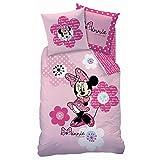 Decokids Parure de lit (2pcs) - Housse de Couette (140x200) + Taie d'oreiller (63x63) - Imprimé Minnie Pink Flowers