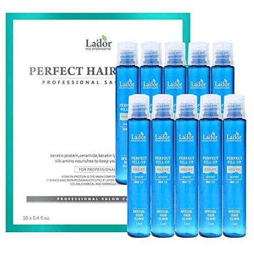 LADOR Perfect Hair Fill-up Professional Salon Care. Packung mit 10x13ml. Haar Kur mit Keratin, Protein, Ceramide, Collagen. Für gesundes glattes Haar Ergebnis.