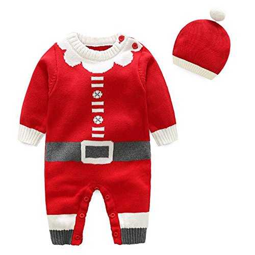 hibote Xmas Cartoon Pattern O-Neck Infantile Knitted Sweater Pagliaccetto