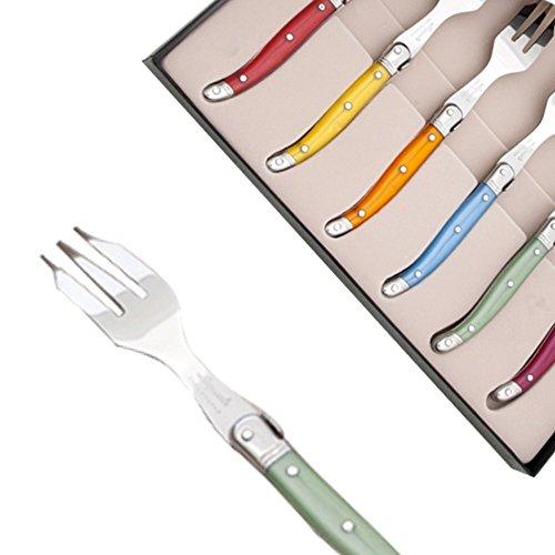 Laguiole Actiforge Kuchengabeln 6 Stück verschiedene Farben mit Perlenglanz direkt aus Frankreich