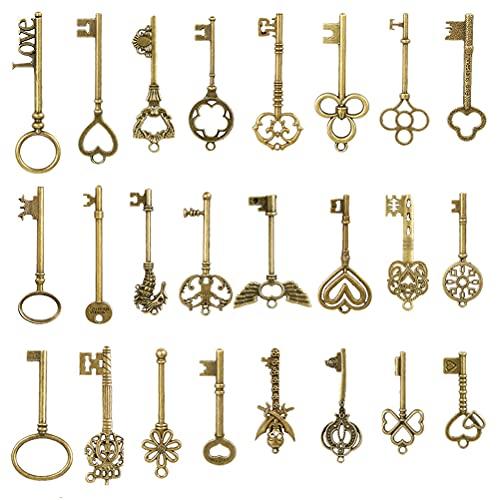 Juego de 24 llaves de esqueleto vintage de bronce con esqueleto antiguo, colgantes para manualidades, decoración, llaveros rústicos para accesorios hechos a mano, collares, colgantes, joyas