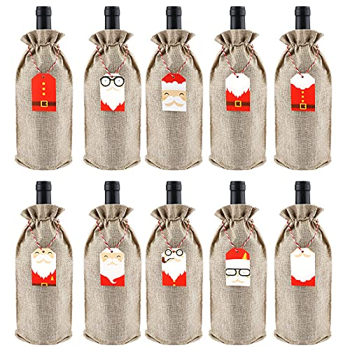 10 Piezas Bolsas de Arpillera para vino, 35 x 15 cm bolsas para botellas de vino navideñas con cordón, fundas para botellas de vino con etiquetas y cuerdas, bolsas de regalo de vino reutilizables