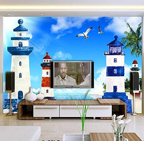 3D achtergrond Mediterrane stijl 3D cartoon vuurtoren zee landschap fotobehang woonkamer behang Fresco @ 300 * 210