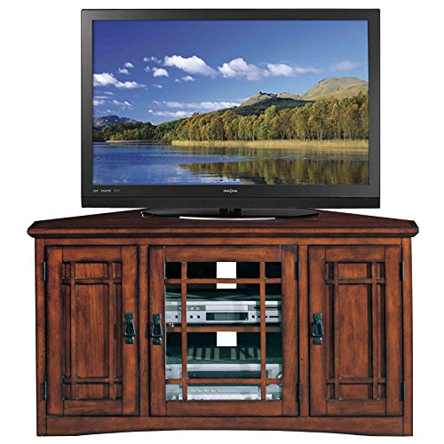 Leick Riley Holliday Mission Corner TV Stand with Storage, 46-Inch, Oak