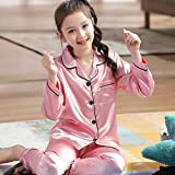 VAZON Kids Silk Satin Pajamas Set, Long Sleeve Sleepwear Nightwear for 10-16 Years Old Boys and Girls Pink