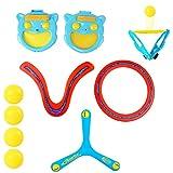 deAO Gioco Lancia e Prendi la Palla Set Include 2 Guante Pagaia, 4 Palle e 3 Boomerang - attività Sportive Estive per Bambini e in Famiglia