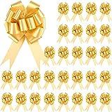 GZGXKJ 30 Piezas Lazos Regalos Grandes Lazos Grandes Dorados Lazos Decorativos para Envolver Regalos Navidad, Bodas, San Valentín Decoración