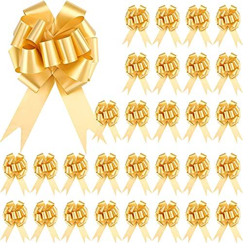 GZGXKJ 30 Pezzi Fiocchi Coccarde per Matrimonio Fiocco Auto Sposi Fiocchi Regalo Natale per Natale, Matrimoni, Feste, San Valentino Decorazione e Compleanno, d'oro