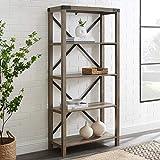 Walker Edison Andersen Urban Industrial Metal X Back Bookshelf, 64 Inch, Grey Wash