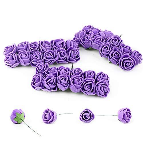 VINFUTUR 144pcs Mini Rosas Artificiales Flores Decorativas para Oso Rosas Falsas Moradas de Espuma con Tallo para Decoración Regalos Guirnalda Jarrón Fiesta Manualidad DIY