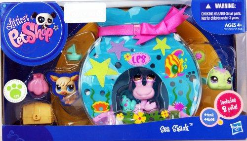 Littlest Pet Shop - EXCLUSIVE - SEA SHACK - Unterwasser Playset - SUPER Aquarium-Spiel-Haus - mit 2 Tieren - lila Krabbe #2091 & grüner Kugelfisch #2092