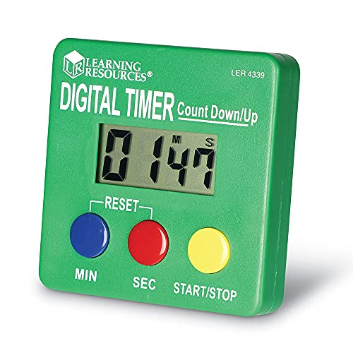 Learning Resources LER4339 Digital Timer, Count Down/Up, Displays Seconds/Minutes, Ages 5, Multicoloured, 15.24 x 11.43 x 3.81 cm Green