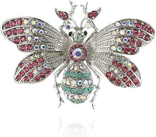 Brosche Sammlung Queen Bee Brosche Fliegennadel In Einer Metallischen Basis Mit Strass Verziert-Silber