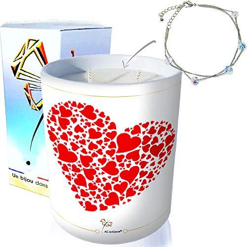 AG Artgosse - Vela con diseño de monoï de Tahití, cristal de Swarovski elementos para mujer, ambiente para el día de la madre, cumpleaños y caja de regalo (Envuelo de corazones, pulsera con 5 perlas)